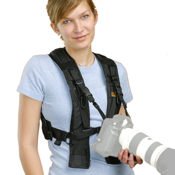 Harness shown with H435 straps attached to DSLR.
