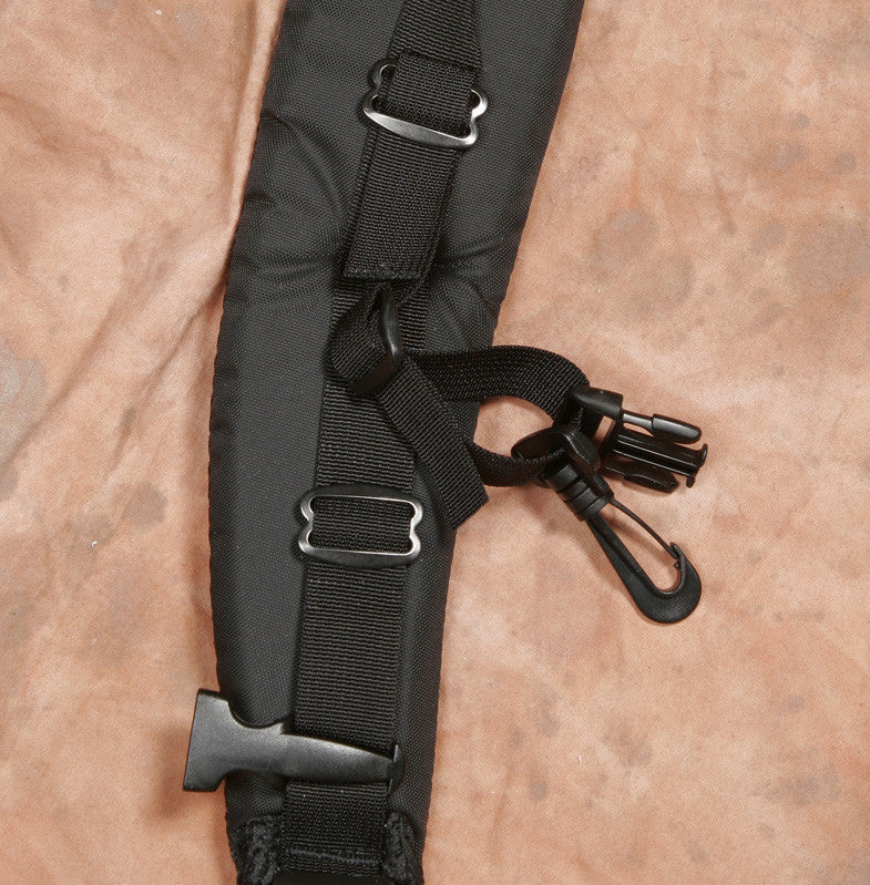"Attached to each side of the harness is a pair of accessory ""attachment straps."" It has both a male quick-release buckle (top) and snap hook (bottom). The buckle is compatible with the H717 & H675 harness. The snap hook is for attaching to the D-Rings."