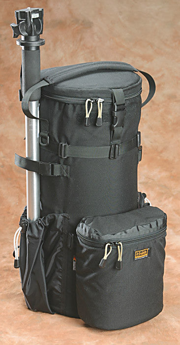 A monopod will fit in the side pocket and is secured to the top using built-in straps. L511, NOT L522 shown.