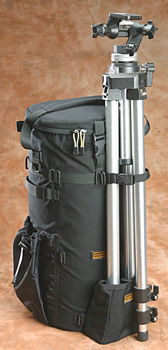 Add a tripod to the rear (or right side) of a long lens case with the addition of a Y204 strap & T164 pouch. Or mount the tripod upside down when using a ballhead with a ballhead pouch instead. L511, NOT L522 shown.