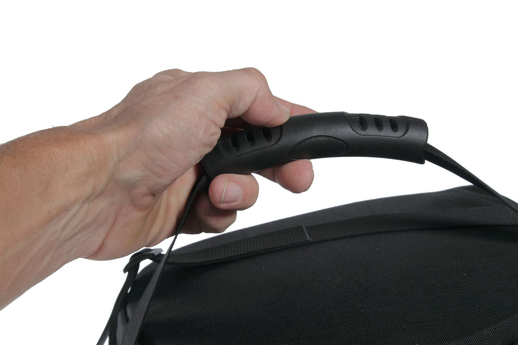 Top carry handle. Comfortable molded plastic/rubber-like material.