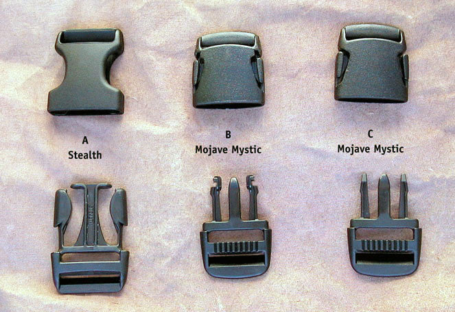 "Long lens case buckles. The style found on current L127s, L128s and all long lens cases is the ""Stealth A."""