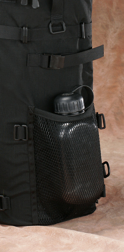 Mesh pocket with an elastic closure fits water bottles up to 1 liter in size.