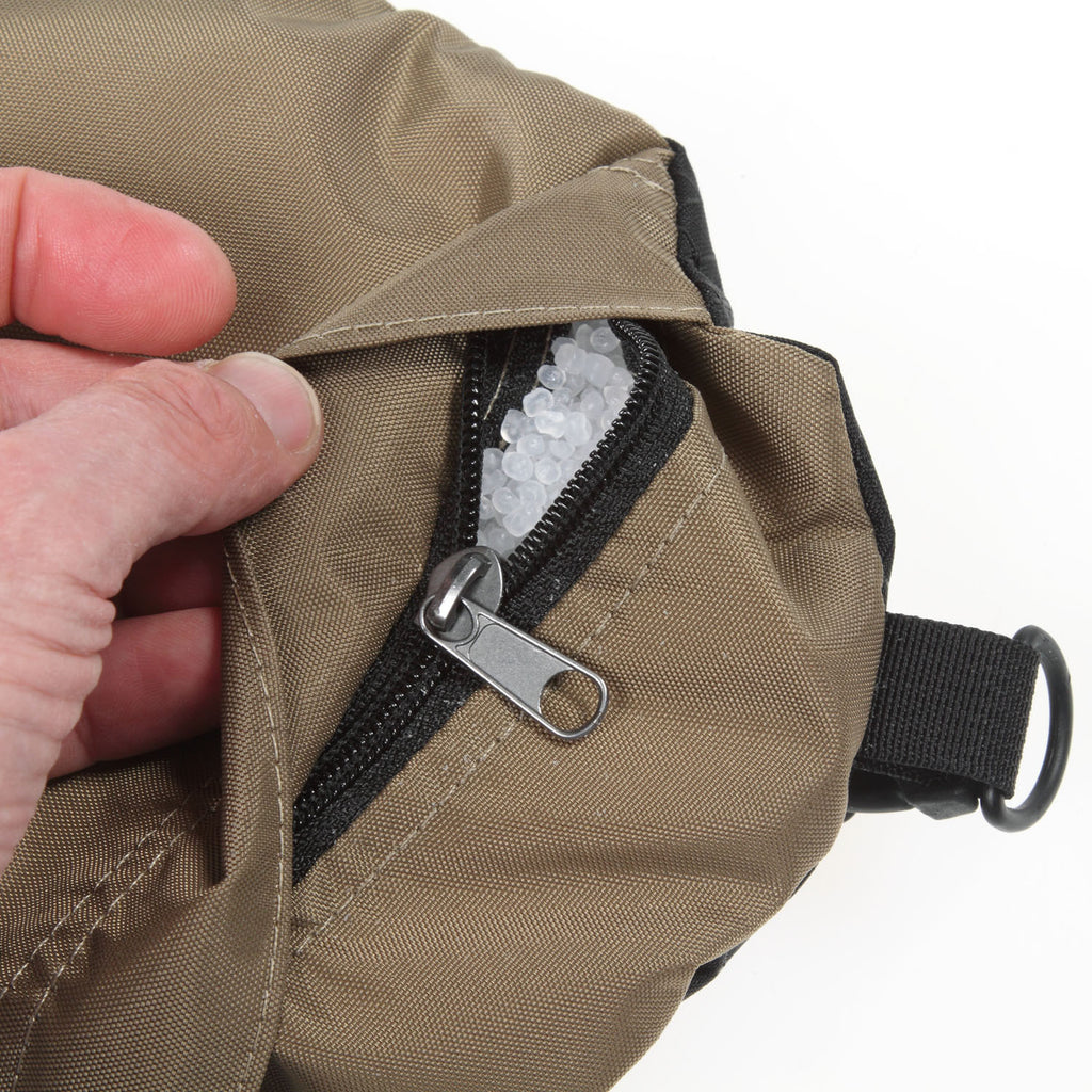 The zipper has a generous flap covering the zipper pull.