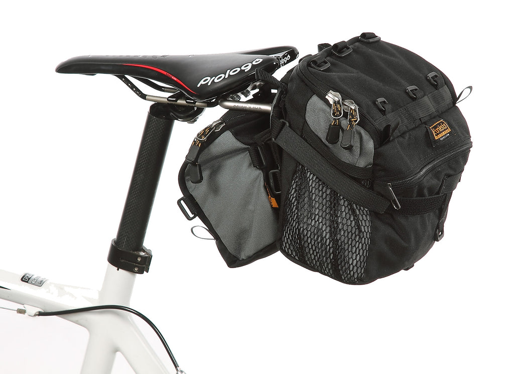 For more capacity, the 2.3-DT (#2223) bag can be mounted forward of a larger bag on the L-Bracket (old style 2.2 bag shown).