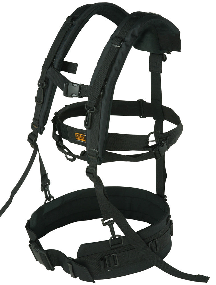 "H250 + H160 in suspender mode (H245 similar but smaller) attached to a B107 waist belt. Note how it uses a 3-point attachment system. Also attached, in the center making a large ""O"", is the H152 strap, for stabilizing your camera."