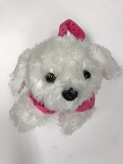 Fluffy puppy purses in fuchsia, turquoise, purple and baby pink.