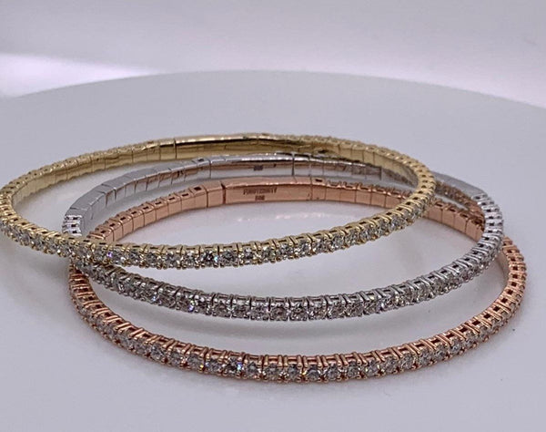 14K Stackable Flex Bracelets - Available Individually or As A Set - SEA Wave Diamonds