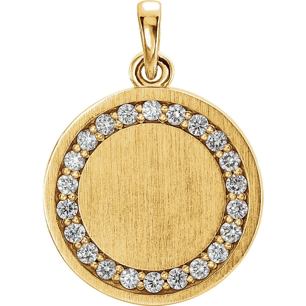 Diamond Engravable Pendant - SEA Wave Diamonds
