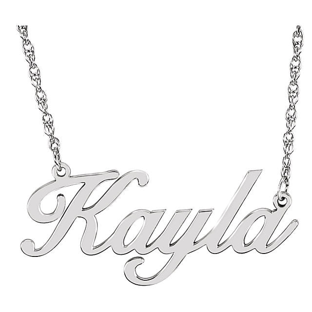 Script Nameplate Necklace - SEA Wave Diamonds
