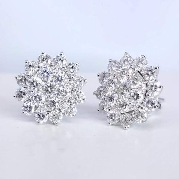 Flower Design Diamond Studs - SEA Wave Diamonds