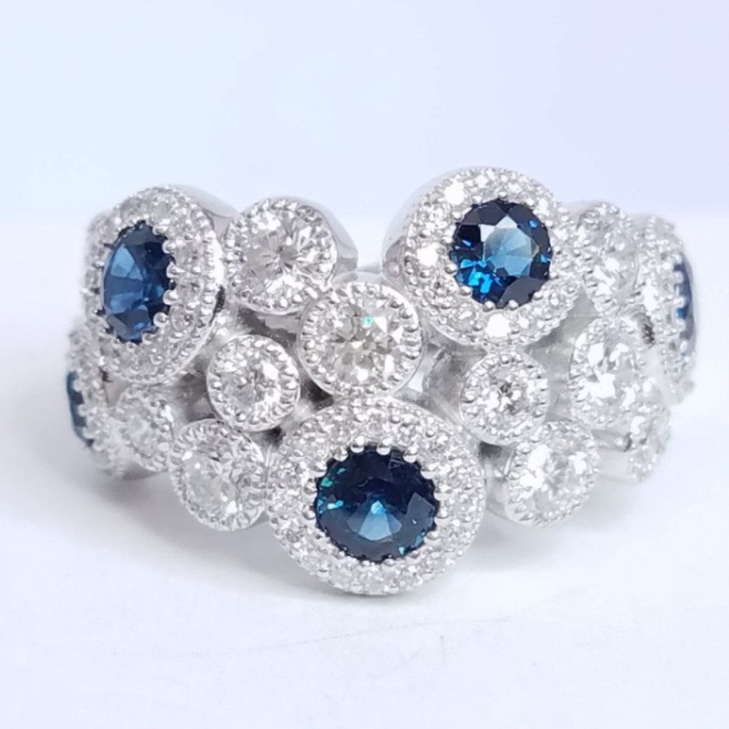 Sapphire Diamond Bubble Ring - SEA Wave Diamonds