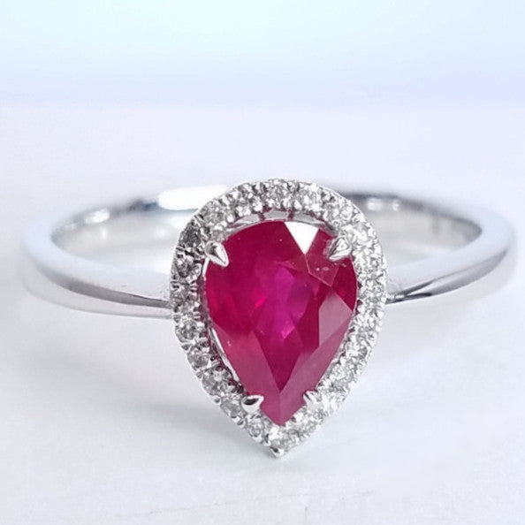 Pear Cut Ruby Diamond Halo Ring - SEA Wave Diamonds