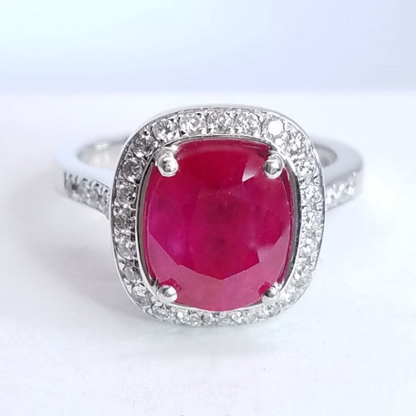 Diamond Ruby Halo Set Gem Ring - SEA Wave Diamonds