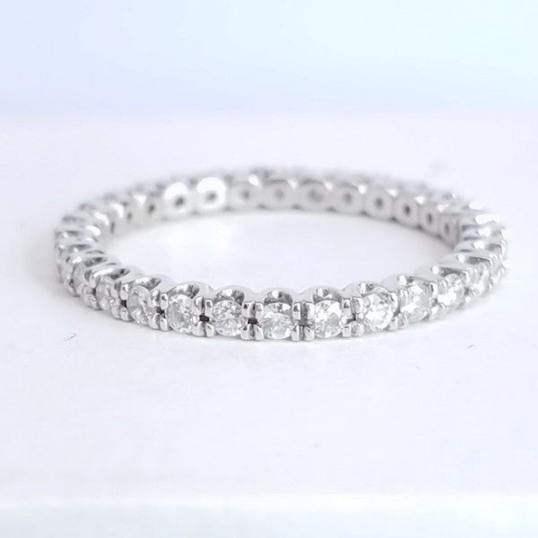 Honeycomb Prong Set Diamond Eternity Band in Platinum - SEA Wave Diamonds