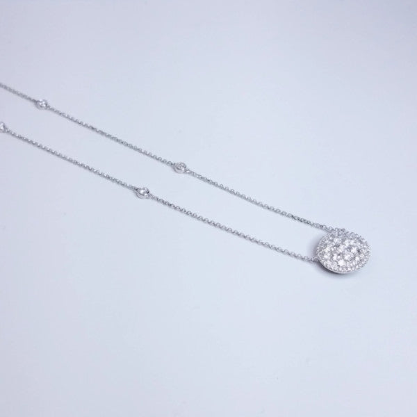 Pave Diamond Pendant Necklace On A Diamond By The Yard Chain - SEA Wave Diamonds