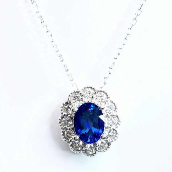 Vintage Inspired Sapphire & Diamond Pendant - SEA Wave Diamonds