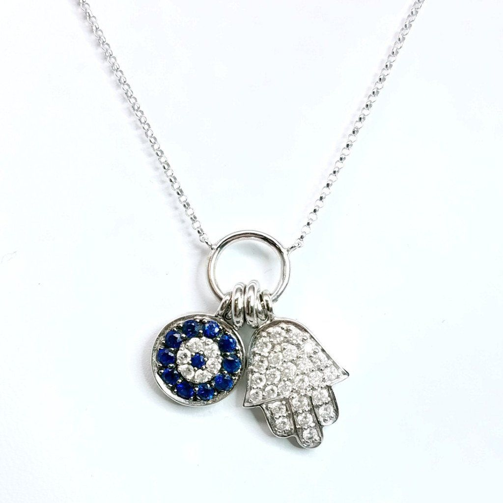 Sapphire evil eye and hamsa diamond pendant sea wave diamonds sapphire evil eye and hamsa diamond pendant sea wave diamonds mozeypictures Images
