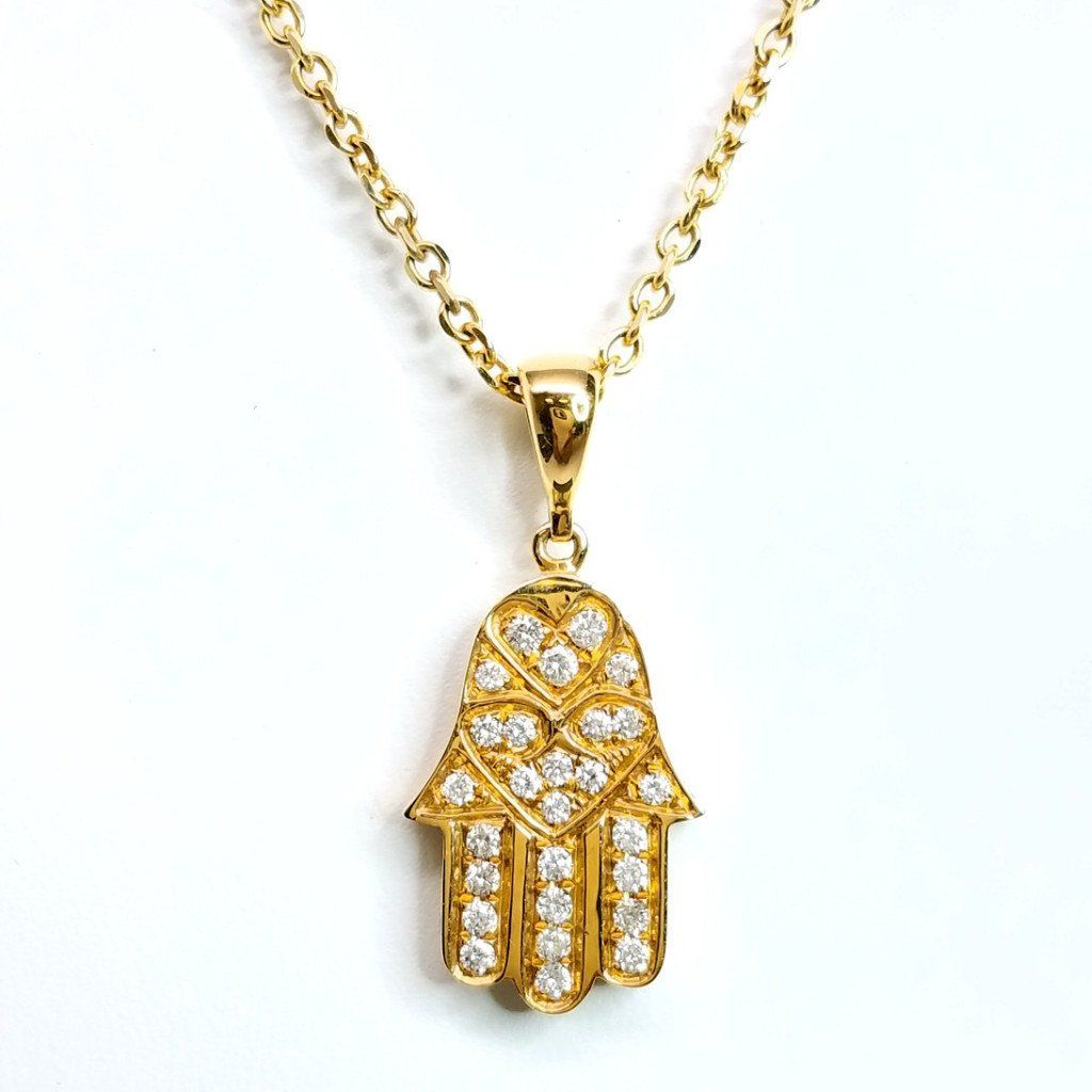 Diamond hamsa necklace in yellow gold sea wave diamonds diamond hamsa necklace in yellow gold sea wave diamonds aloadofball Images