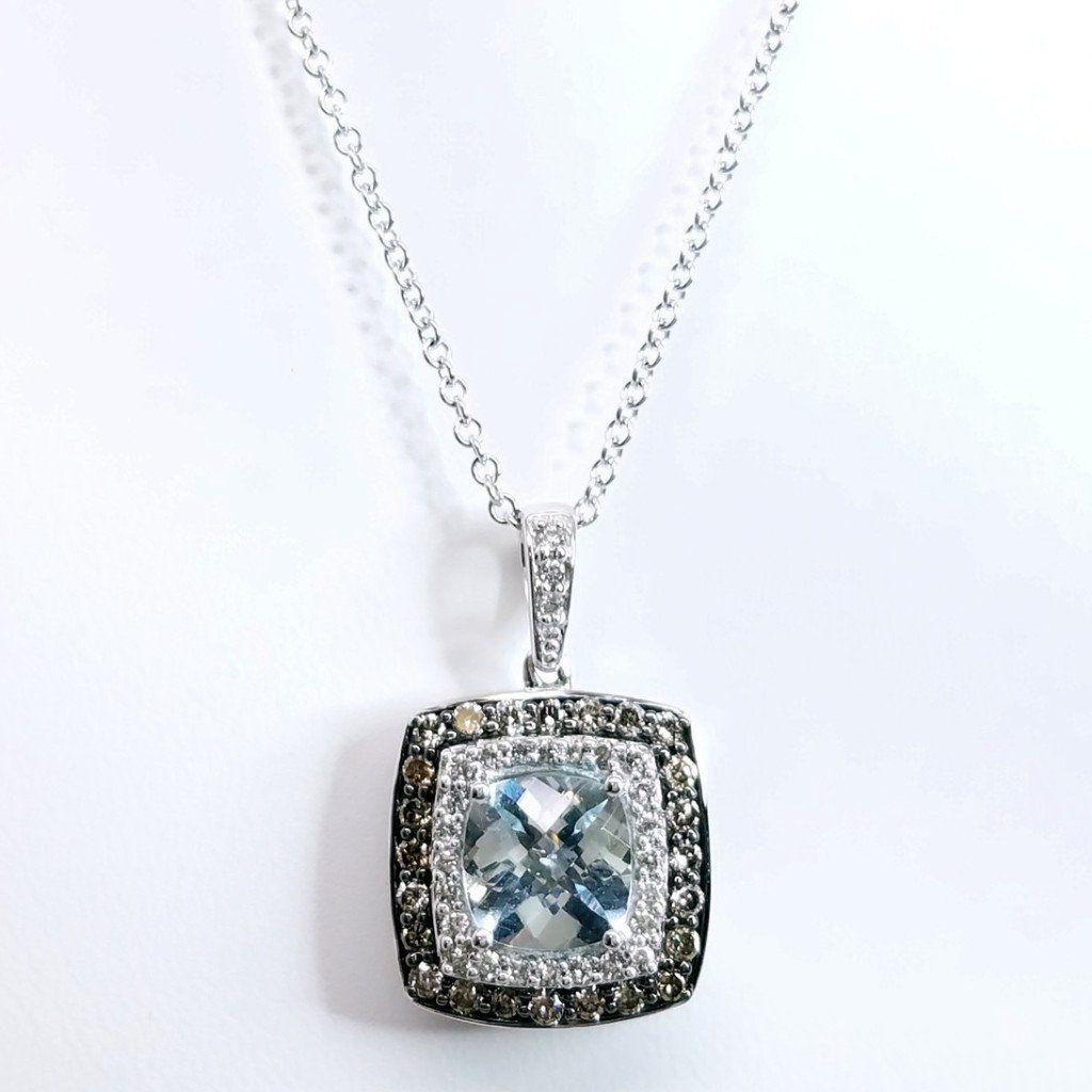 Soft Aqua Cushion Double Halo Pendant - SEA Wave Diamonds