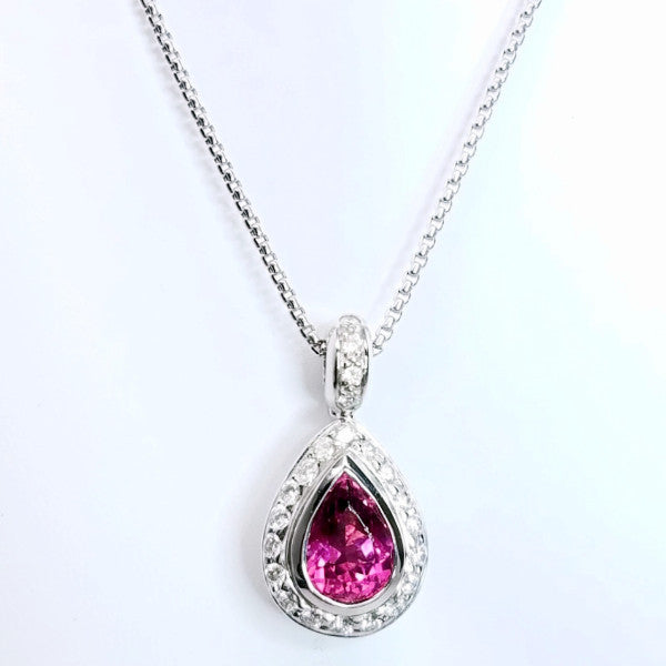 Pink Tourmaline Diamond Pendant On A Chain - SEA Wave Diamonds