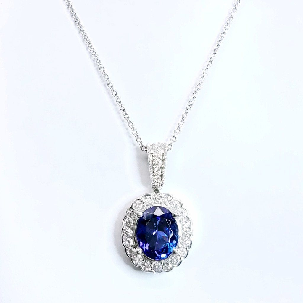 Rich Royal Tanzanite Diamond Pendant - SEA Wave Diamonds