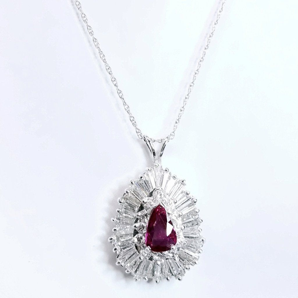Vintage Inspired Diamond & Ruby Pendant - SEA Wave Diamonds