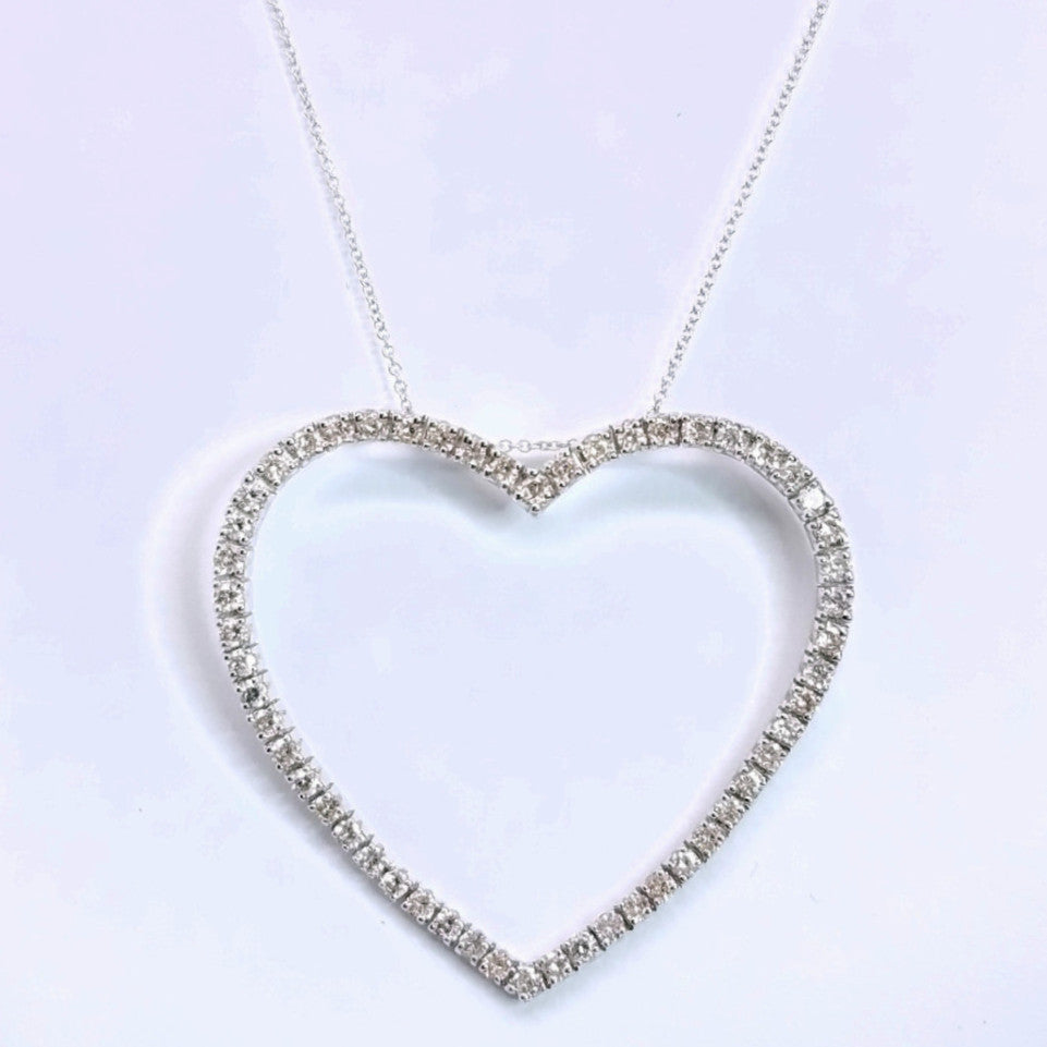 Large Diamond Heart Pendant - SEA Wave Diamonds