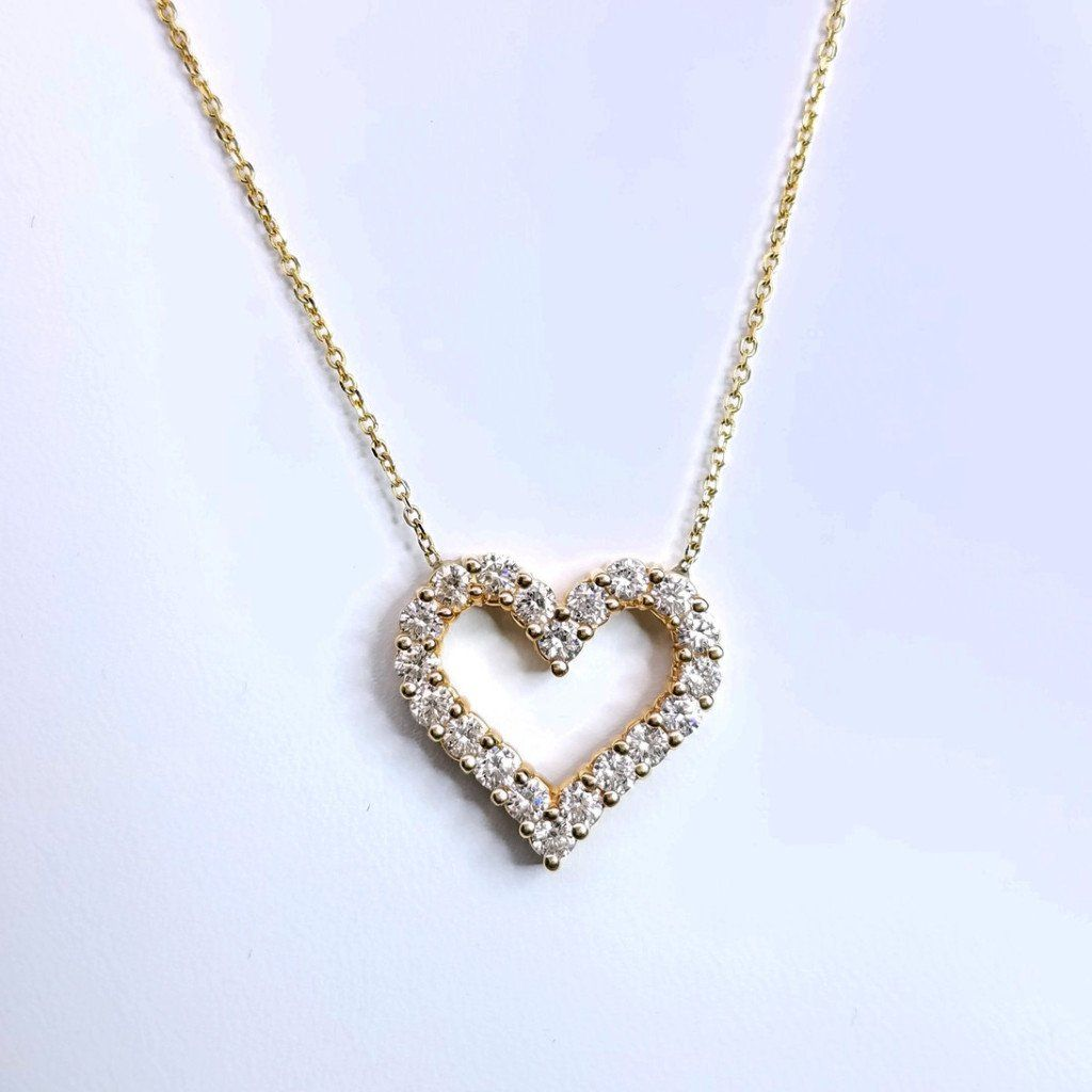 Yellow Gold Diamond Heart Pendant On A Chain - SEA Wave Diamonds