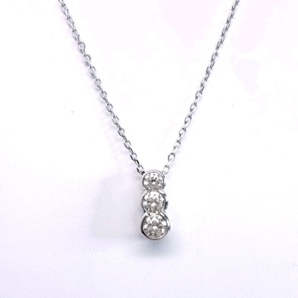 Three Stone Diamond Pendant On A Chain - SEA Wave Diamonds
