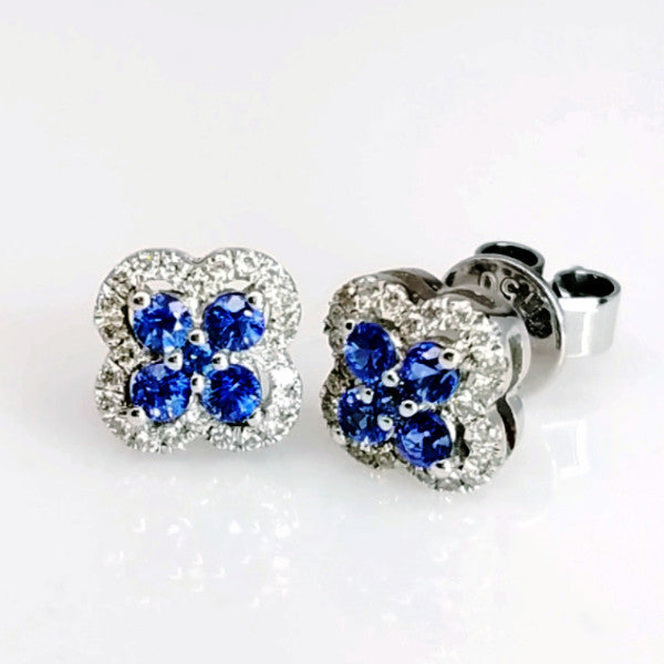 Blue Sapphire & Diamond Earrings - SEA Wave Diamonds