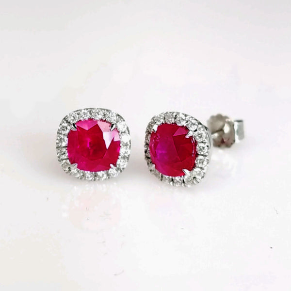 Cushion Cut Red Ruby & Diamond Halo Studs - SEA Wave Diamonds