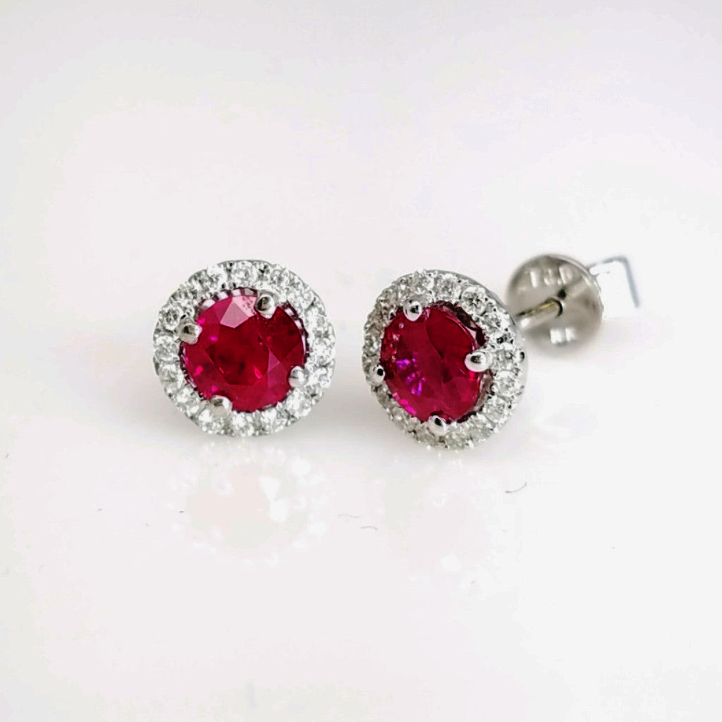 Ruby And Diamond Earrings In 18k White Gold - SEA Wave Diamonds
