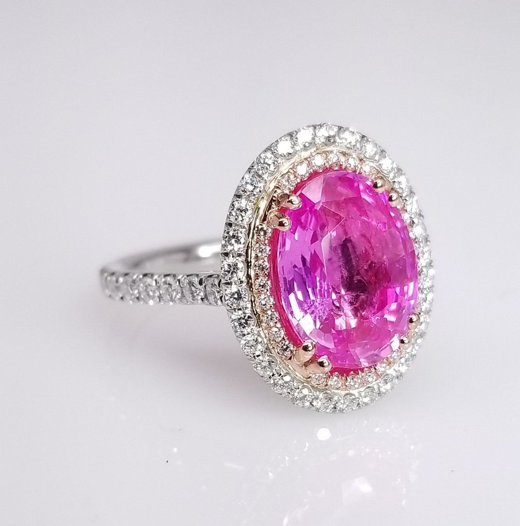 Oval Cut Pink Sapphire Double Halo Diamond Ring - SEA Wave Diamonds