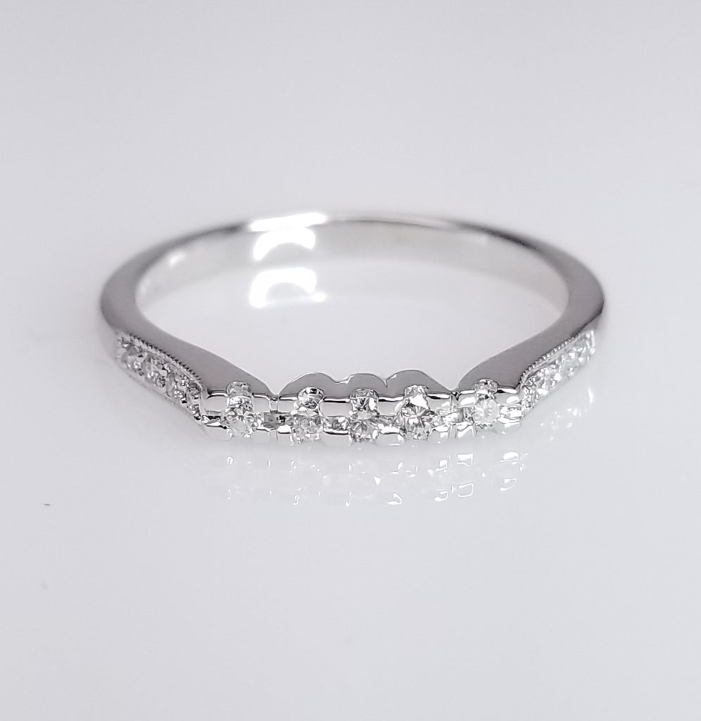Vintage Diamond Wedding Band 0.16cts - SEA Wave Diamonds