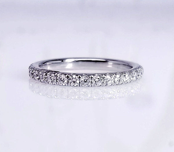Extra Low Profile Pave Diamond Wedding Ring - SEA Wave Diamonds