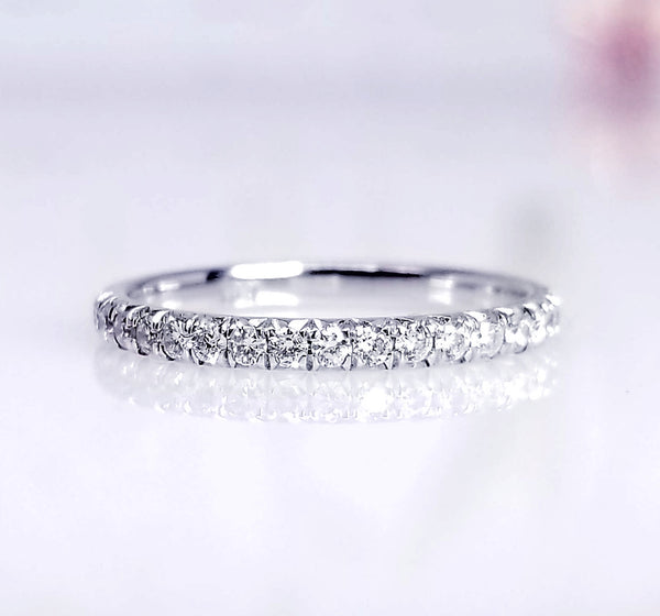 French Pave Style Stackable Diamond Ring - SEA Wave Diamonds