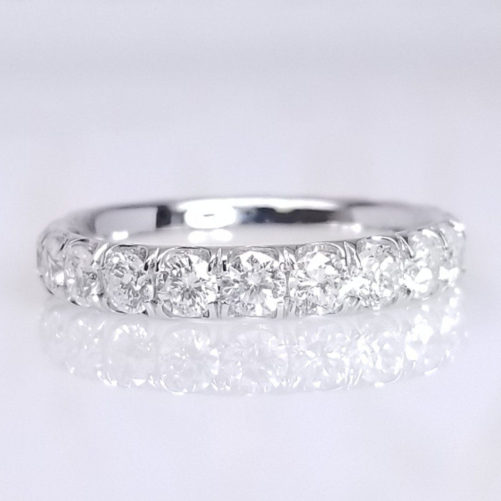 French Pave Cut Down Diamond Eternity Ring - SEA Wave Diamonds