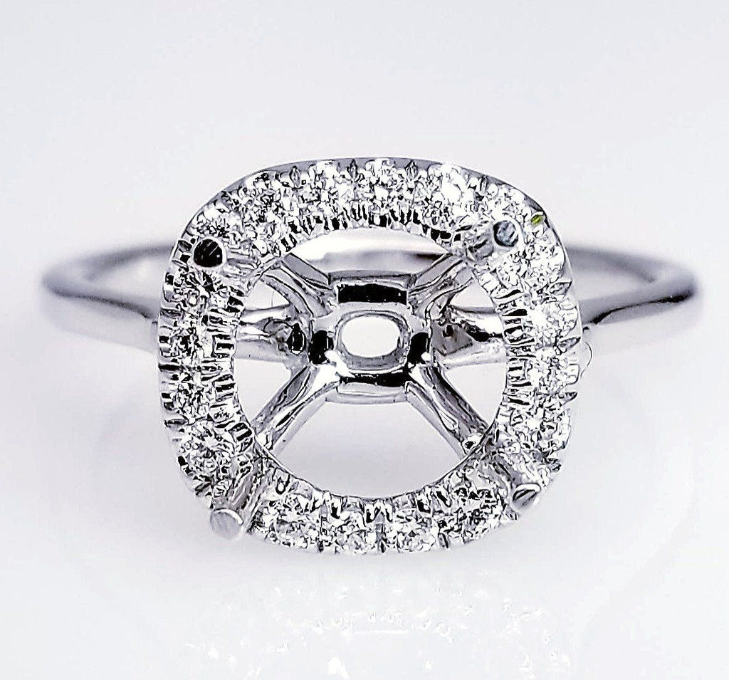 Scoop Pave Diamond Halo Engagement Ring