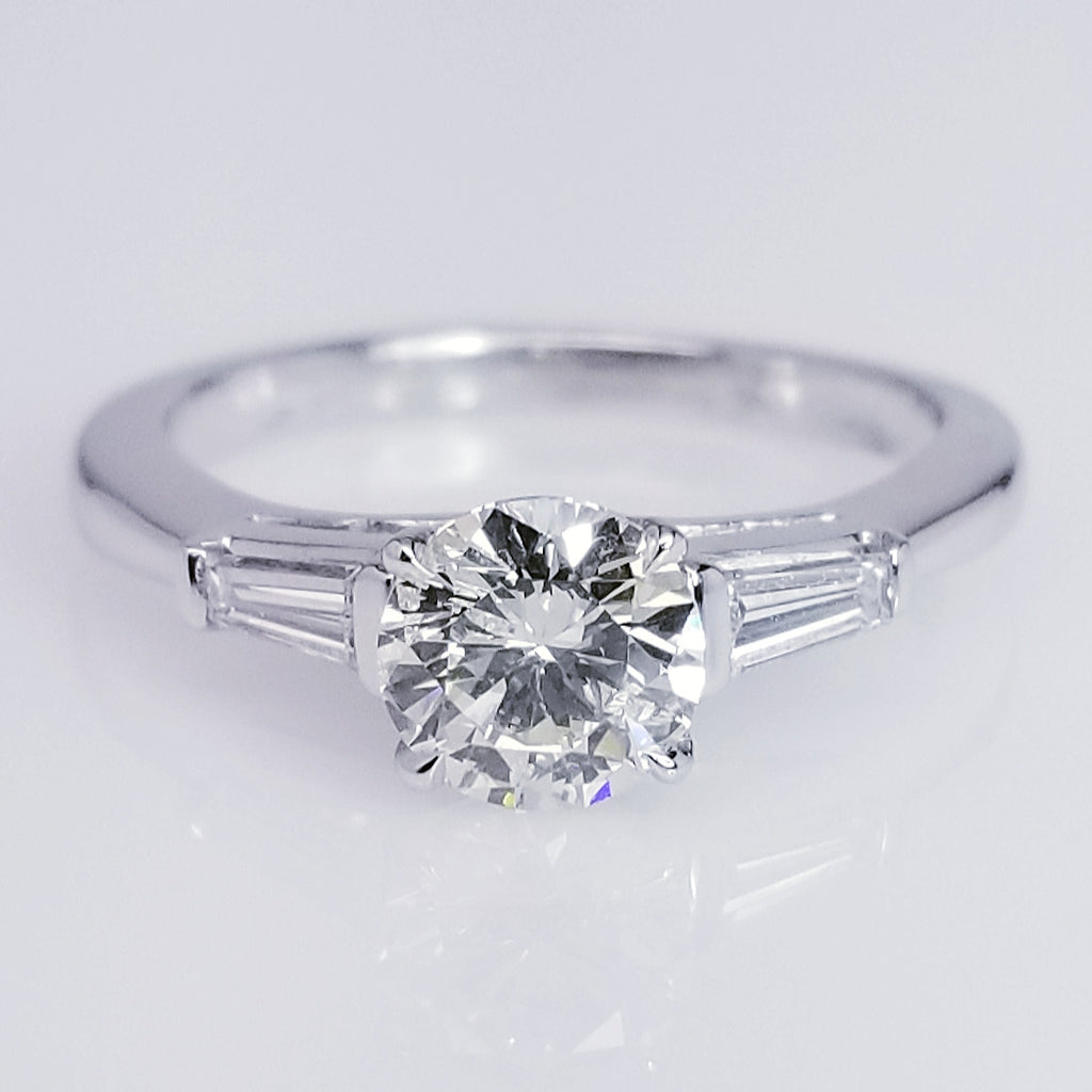 Classic Diamond Engagement Ring With Baguette Cuts