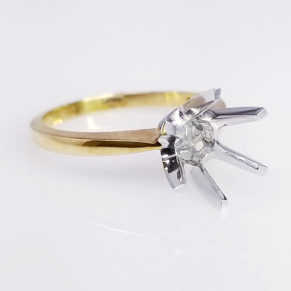 Two Tone Tulip Six Prong Diamond Engagement Ring Setting - SEA Wave Diamonds