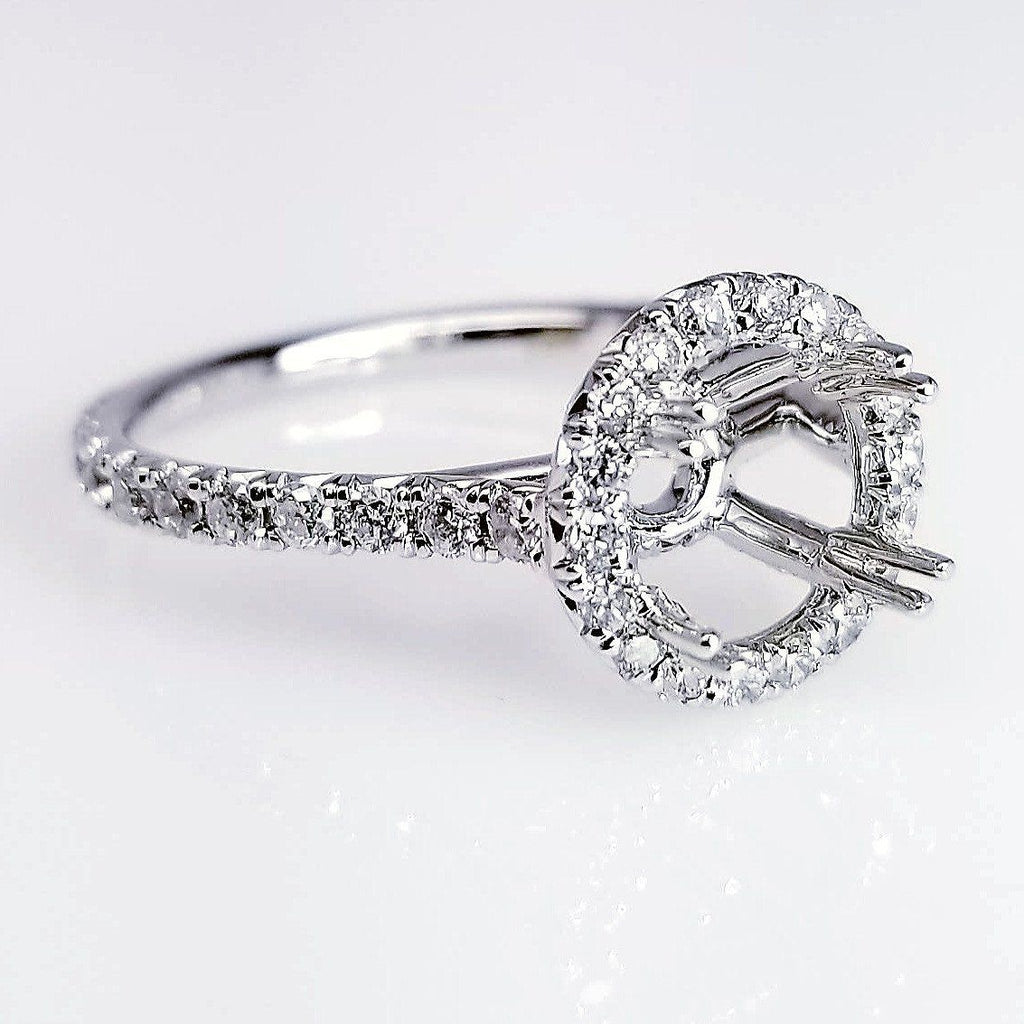 Halo Diamond Engagement Ring Setting With Secret Pave Diamonds