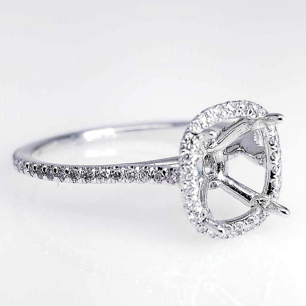 Engr02620 Delicate Cushion Cut Halo Style Diamond Engagement Ring Setting