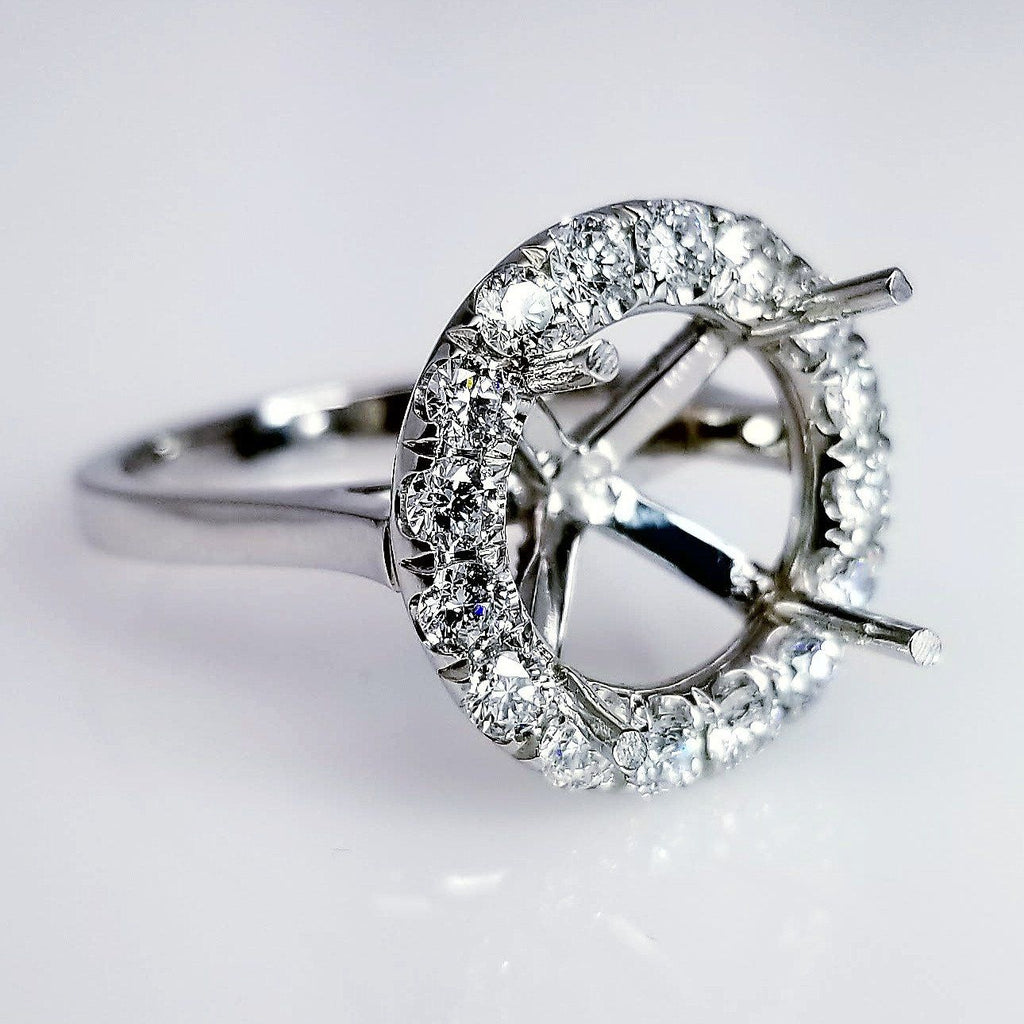 Halo Diamond Engagement Ring Setting With Secret Diamonds On The Pegs