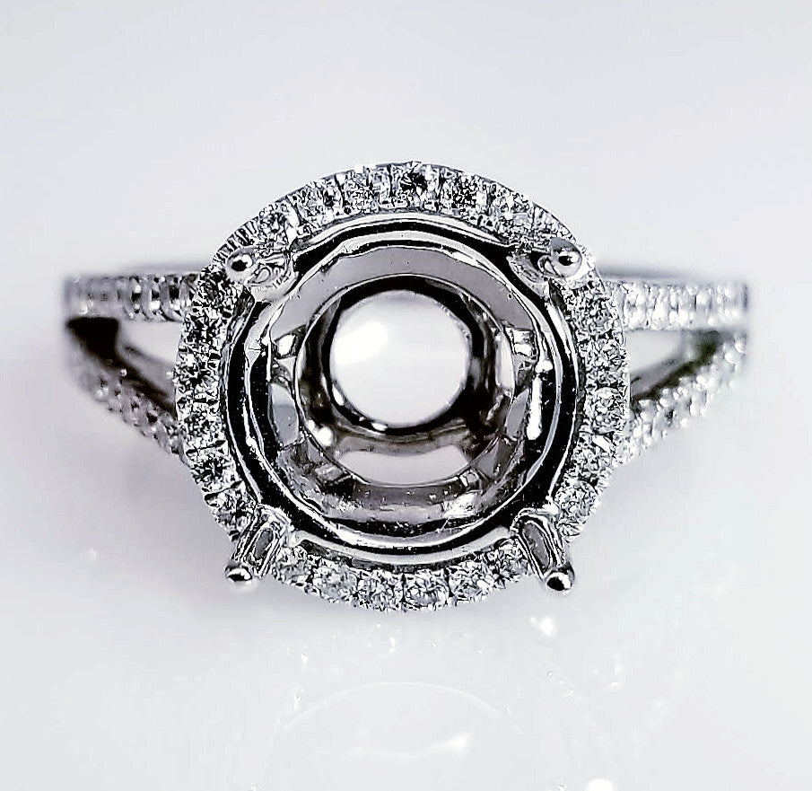Halo Diamond Engagement Ring Setting With A Split Shank Design