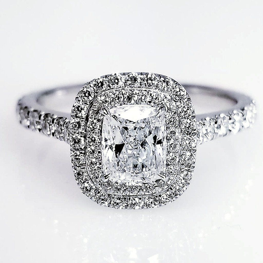 Engr03072 Double Halo Cushion Cut Damond Engagement Ring