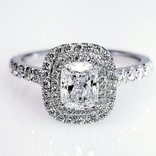 Double Halo Cushion Cut Damond Engagement Ring