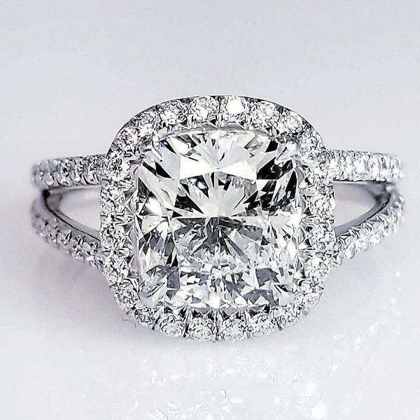 Halo Set Cushion Cut Split Shank Diamond Engagement Ring