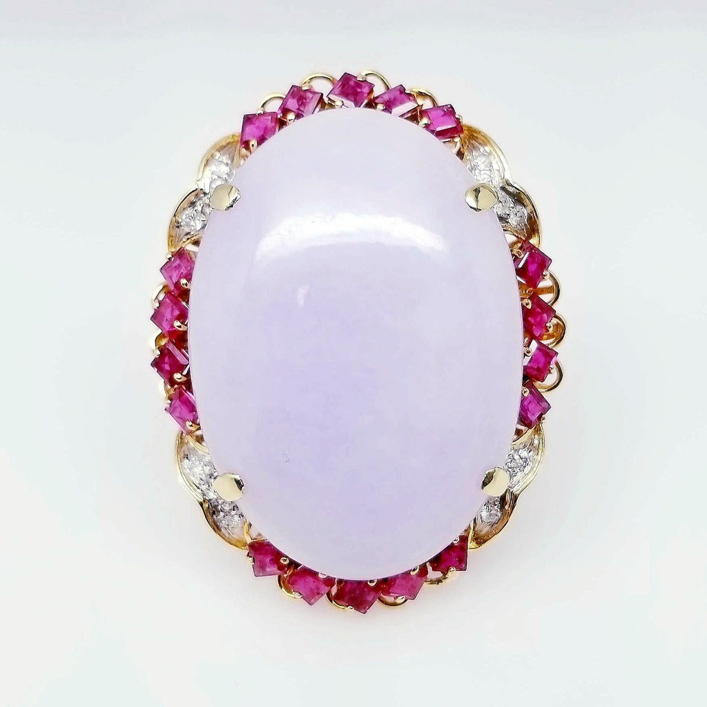 Lavender Jade & Diamond Ruby Ring