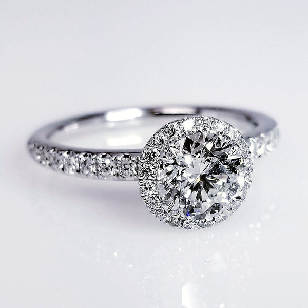 Round Cut Pave Halo Diamond Engagement Ring